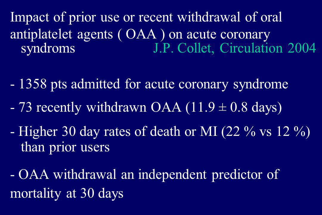 Impact of prior use or recent withdrawal of oral