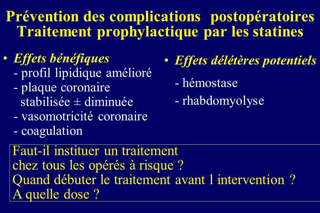 Prévention des complications postopératoires Traitement prophylactique par les statines