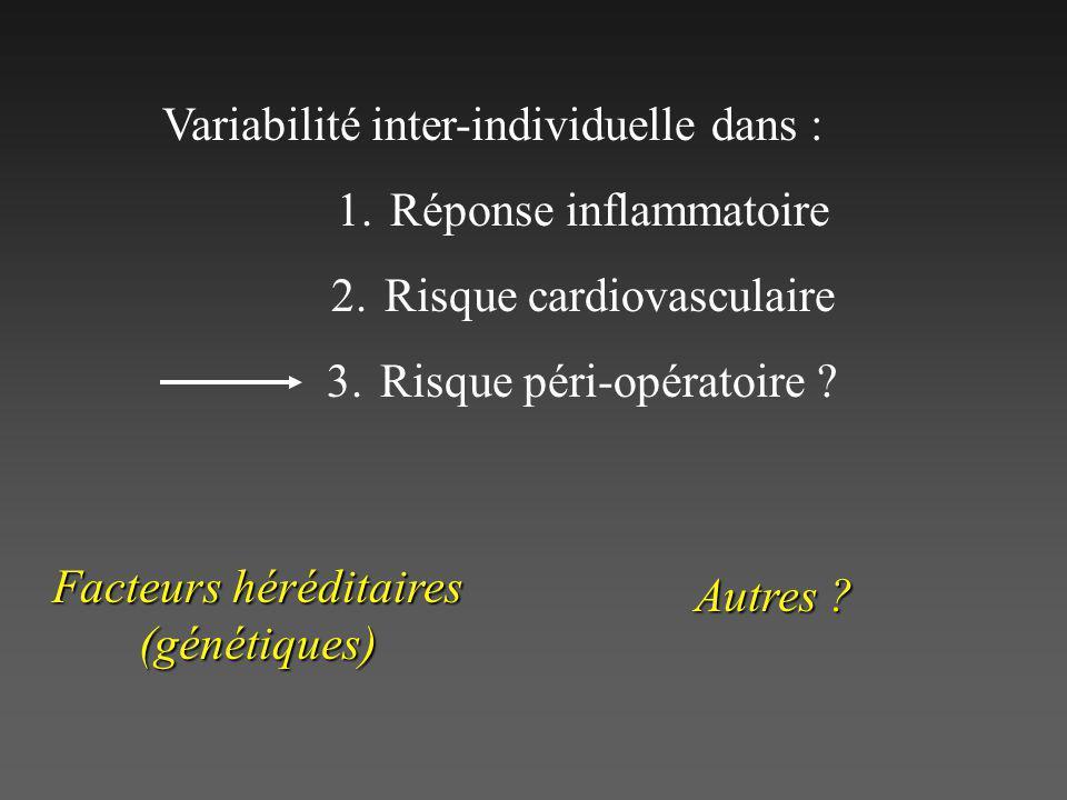 Variabilité inter-individuelle dans : Réponse inflammatoire