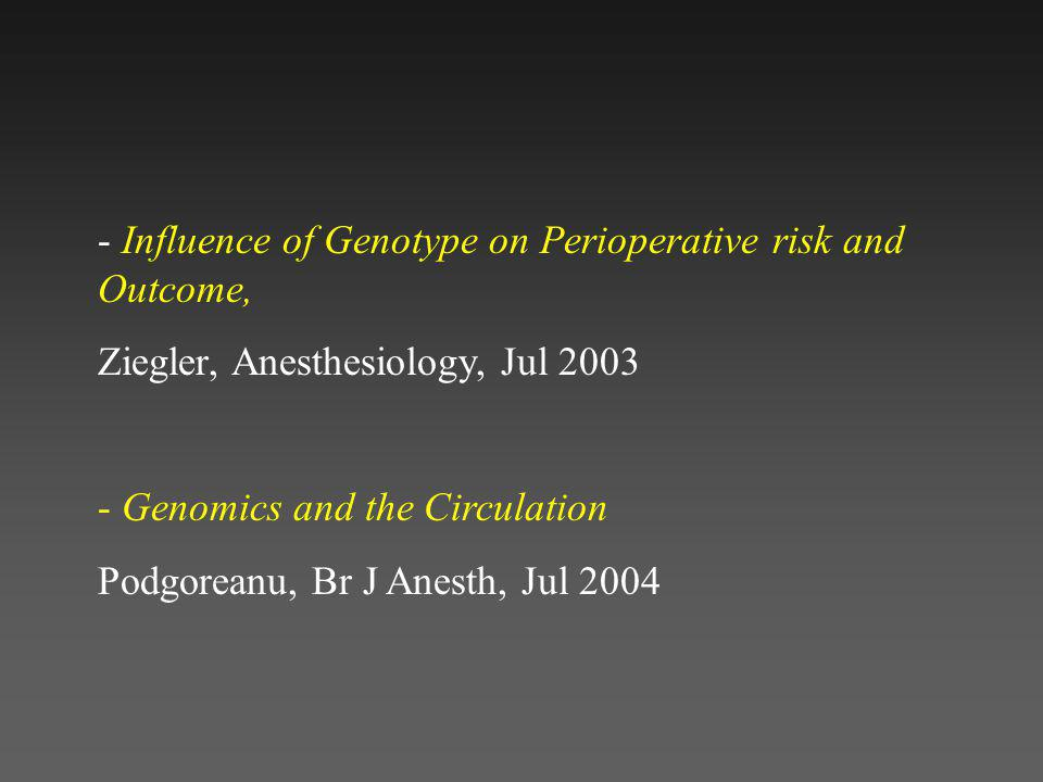 - Influence of Genotype on Perioperative risk and Outcome,