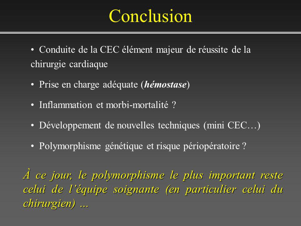 Conclusion Conduite de la CEC élément majeur de réussite de la chirurgie cardiaque. Prise en charge adéquate (hémostase)