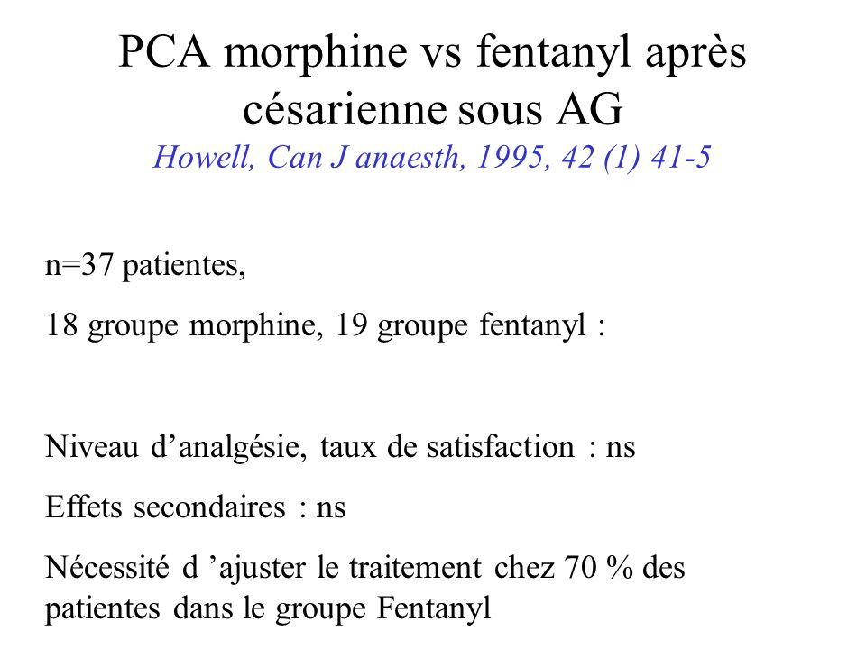 PCA morphine vs fentanyl après césarienne sous AG Howell, Can J anaesth, 1995, 42 (1) 41-5