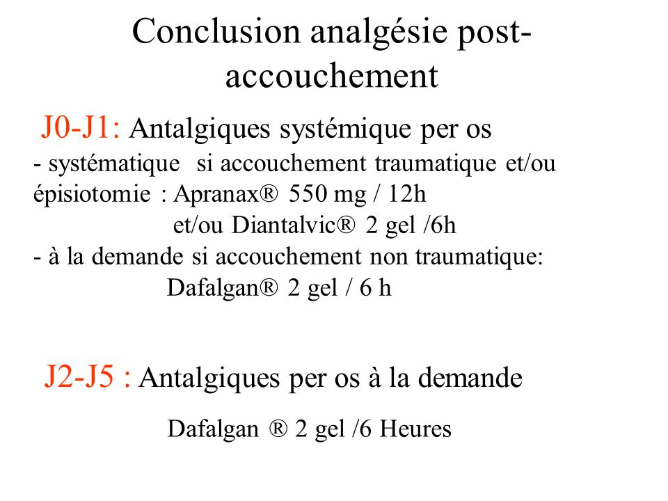 Conclusion analgésie post-accouchement