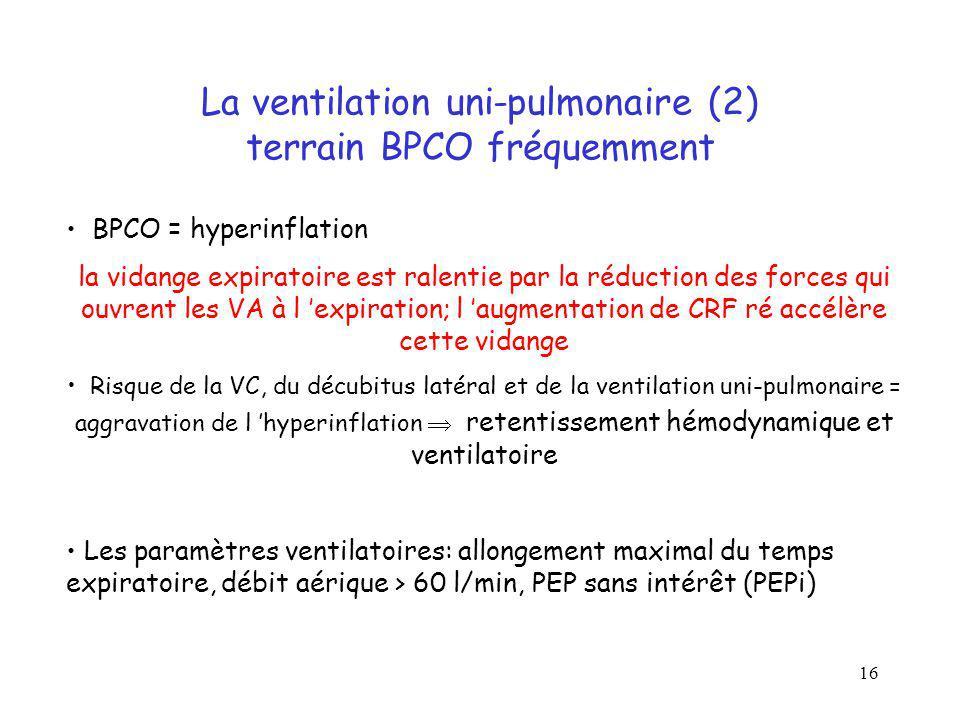 La ventilation uni-pulmonaire (2) terrain BPCO fréquemment