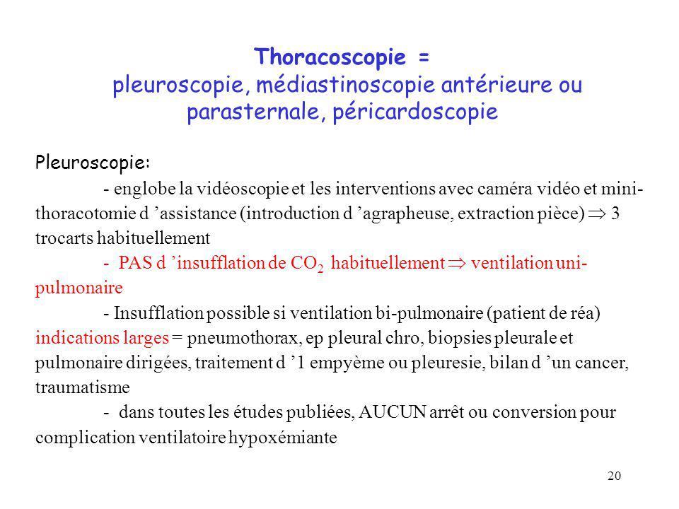 Thoracoscopie = pleuroscopie, médiastinoscopie antérieure ou parasternale, péricardoscopie
