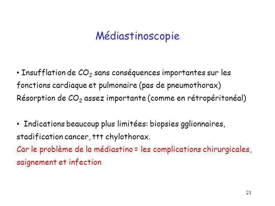 Médiastinoscopie Insufflation de CO2 sans conséquences importantes sur les fonctions cardiaque et pulmonaire (pas de pneumothorax)