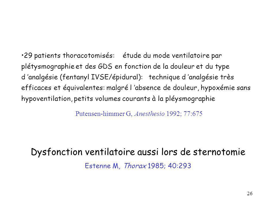 Dysfonction ventilatoire aussi lors de sternotomie