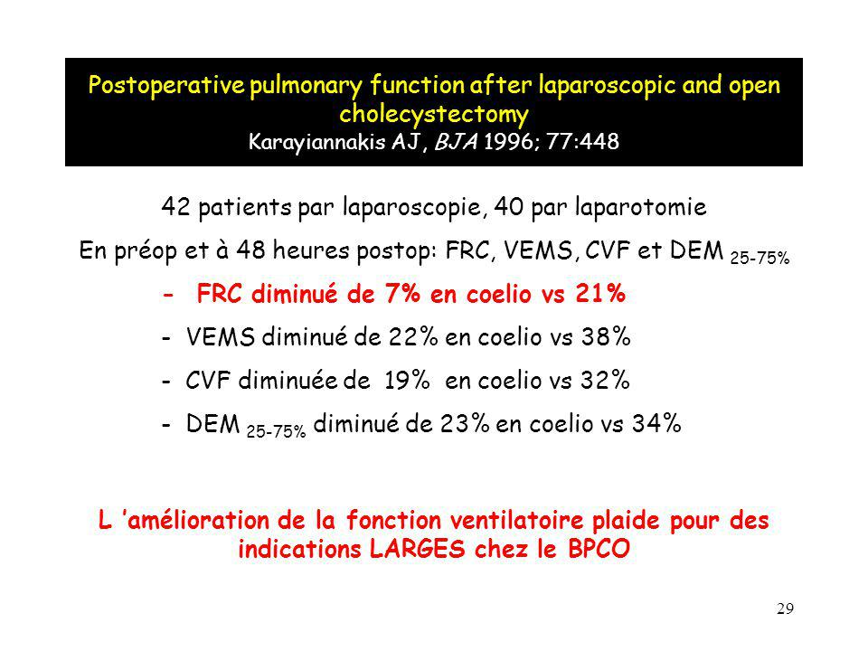 42 patients par laparoscopie, 40 par laparotomie
