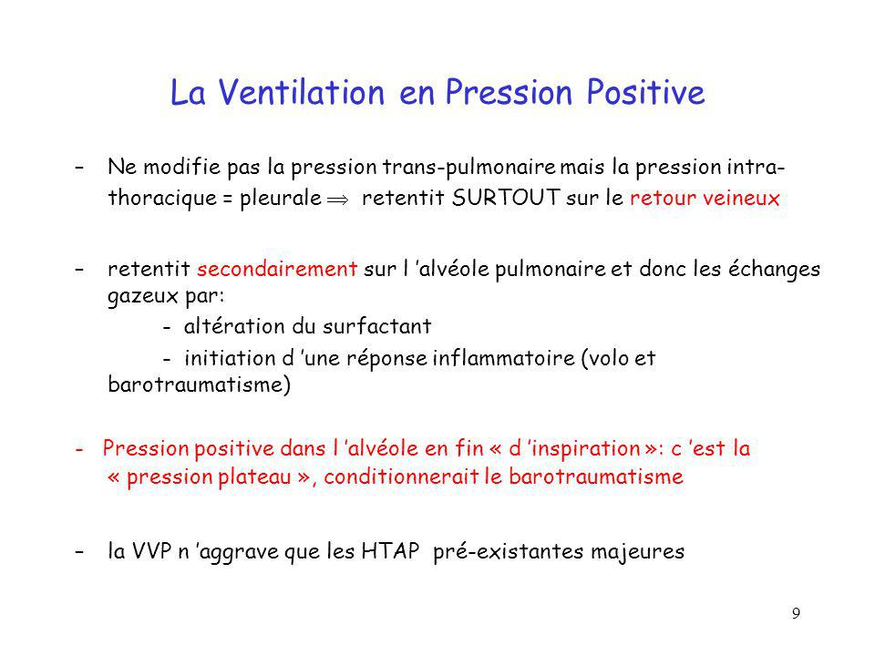 La Ventilation en Pression Positive