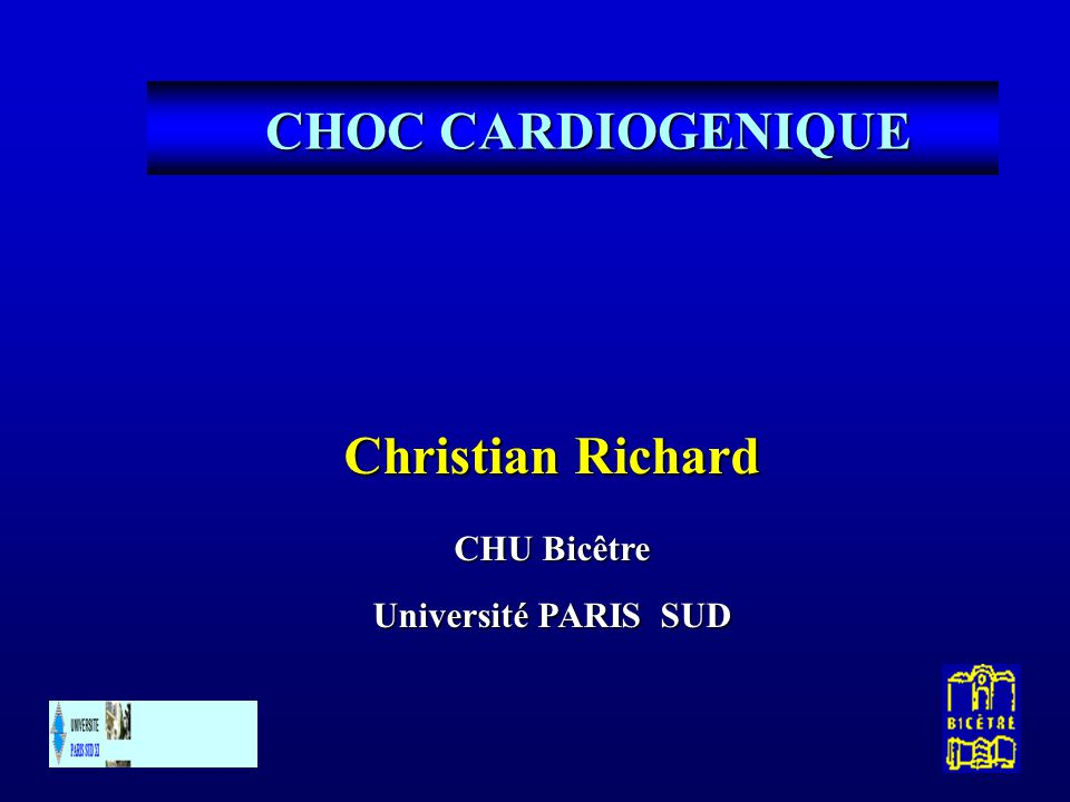 CHOC CARDIOGENIQUE Christian Richard CHU Bicêtre Université PARIS SUD