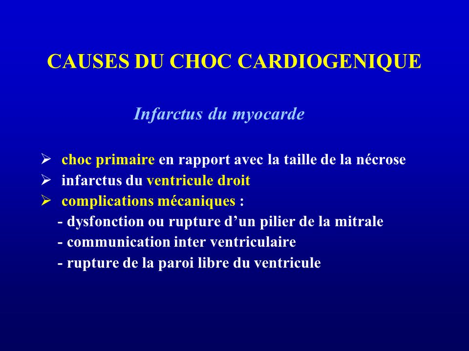 CAUSES DU CHOC CARDIOGENIQUE