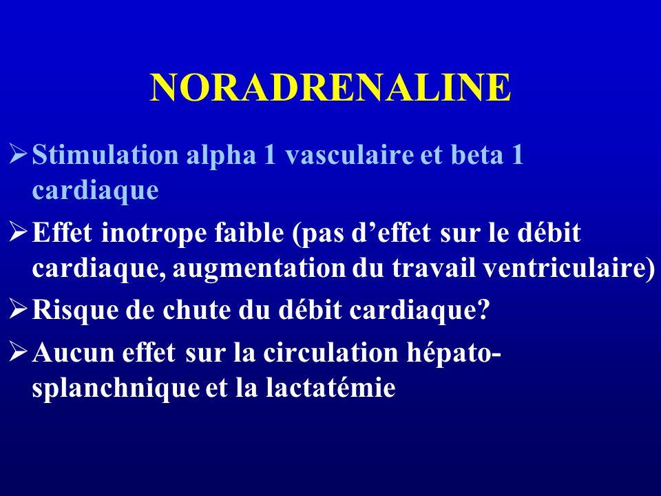 NORADRENALINE Stimulation alpha 1 vasculaire et beta 1 cardiaque