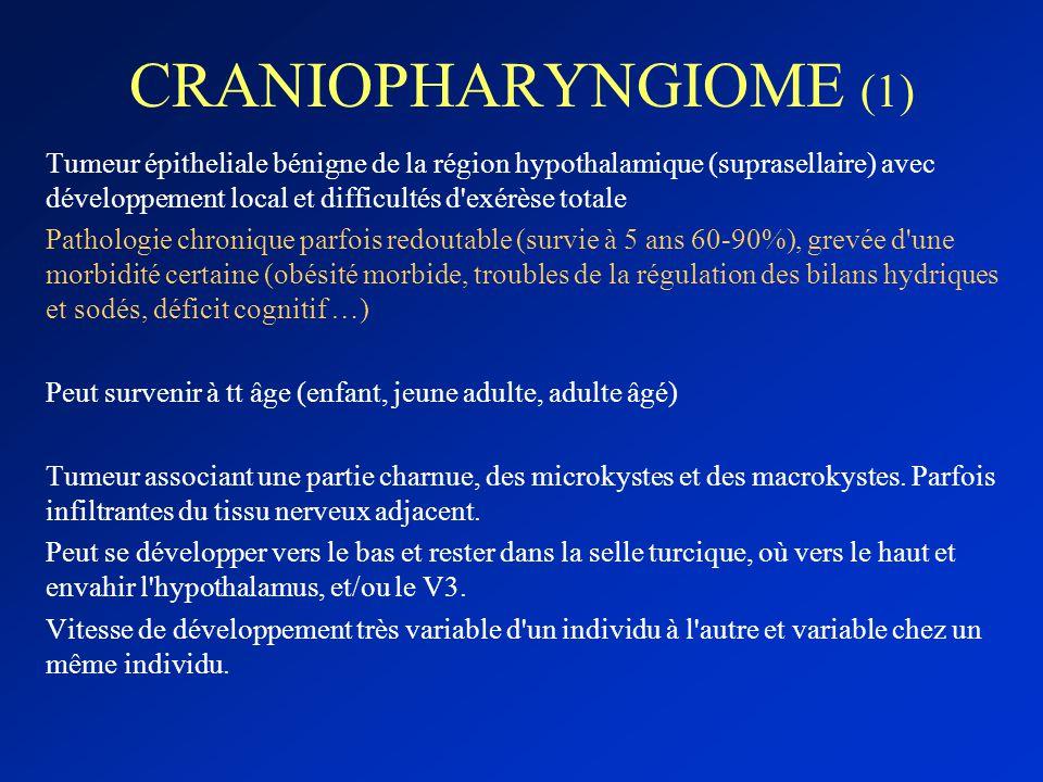 CRANIOPHARYNGIOME (1) Tumeur épitheliale bénigne de la région hypothalamique (suprasellaire) avec développement local et difficultés d exérèse totale.