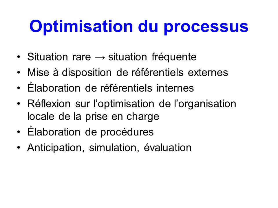 Optimisation du processus