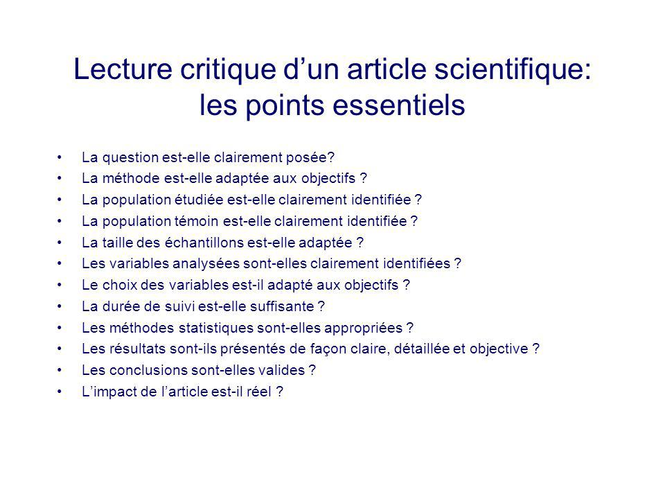 Lecture critique d'un article scientifique: les points essentiels