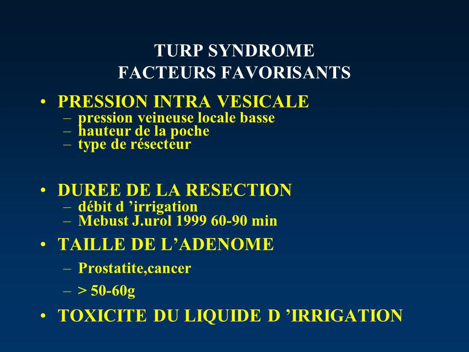 TURP SYNDROME FACTEURS FAVORISANTS
