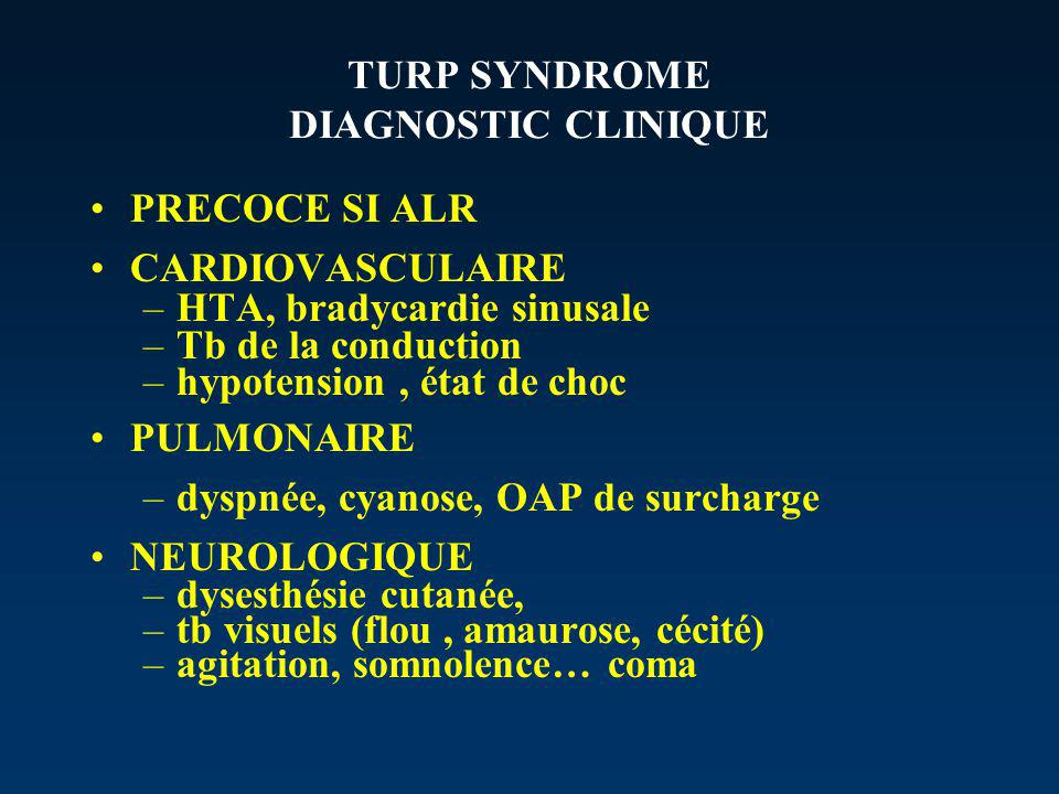 TURP SYNDROME DIAGNOSTIC CLINIQUE