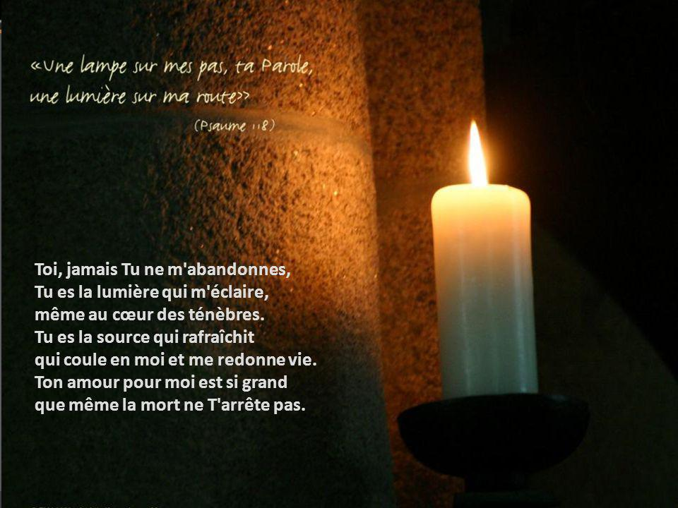 Toi, jamais Tu ne m abandonnes, Tu es la lumière qui m éclaire, même au cœur des ténèbres.