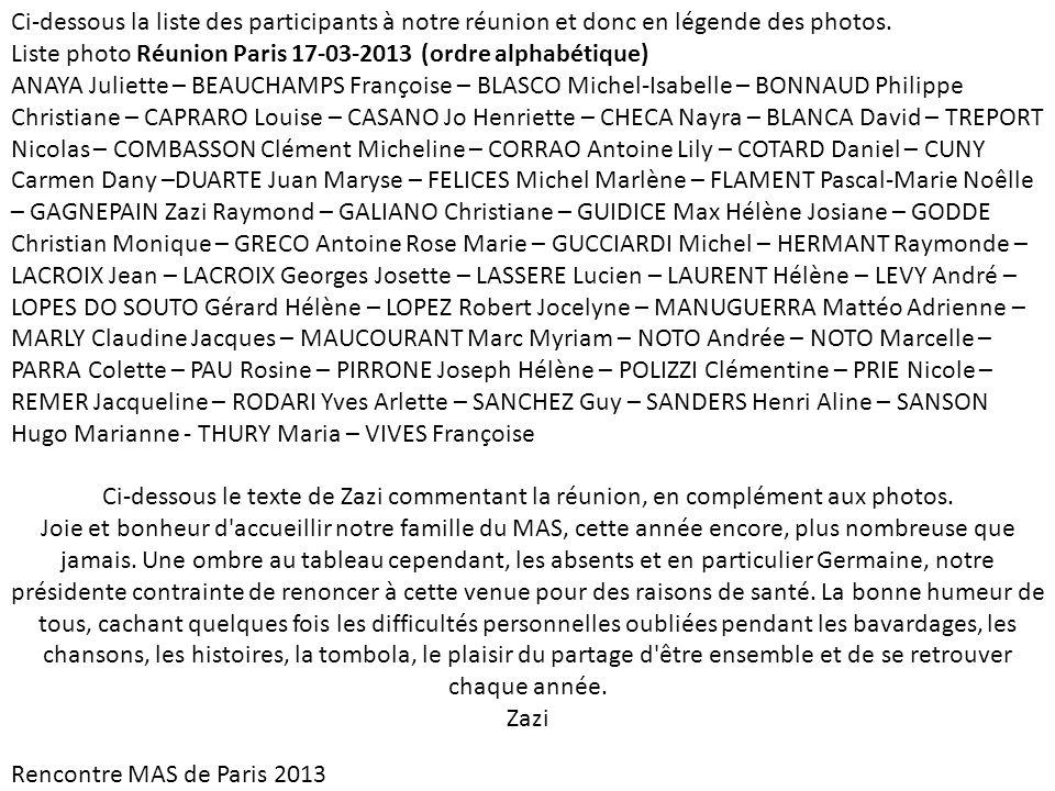 Ci-dessous la liste des participants à notre réunion et donc en légende des photos.