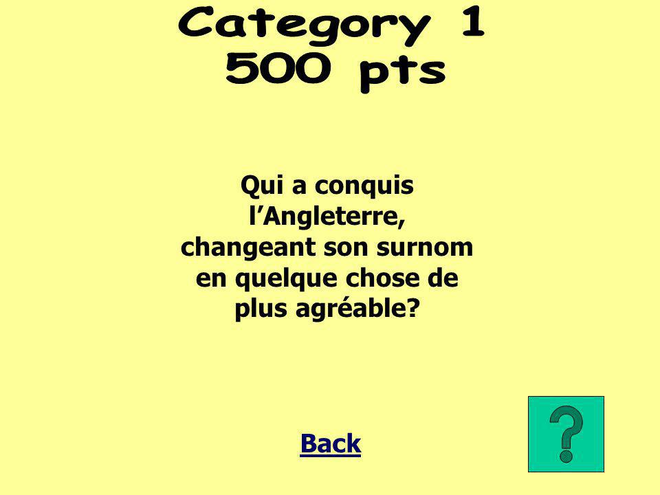 Category 1 500 pts. Qui a conquis l'Angleterre, changeant son surnom en quelque chose de plus agréable
