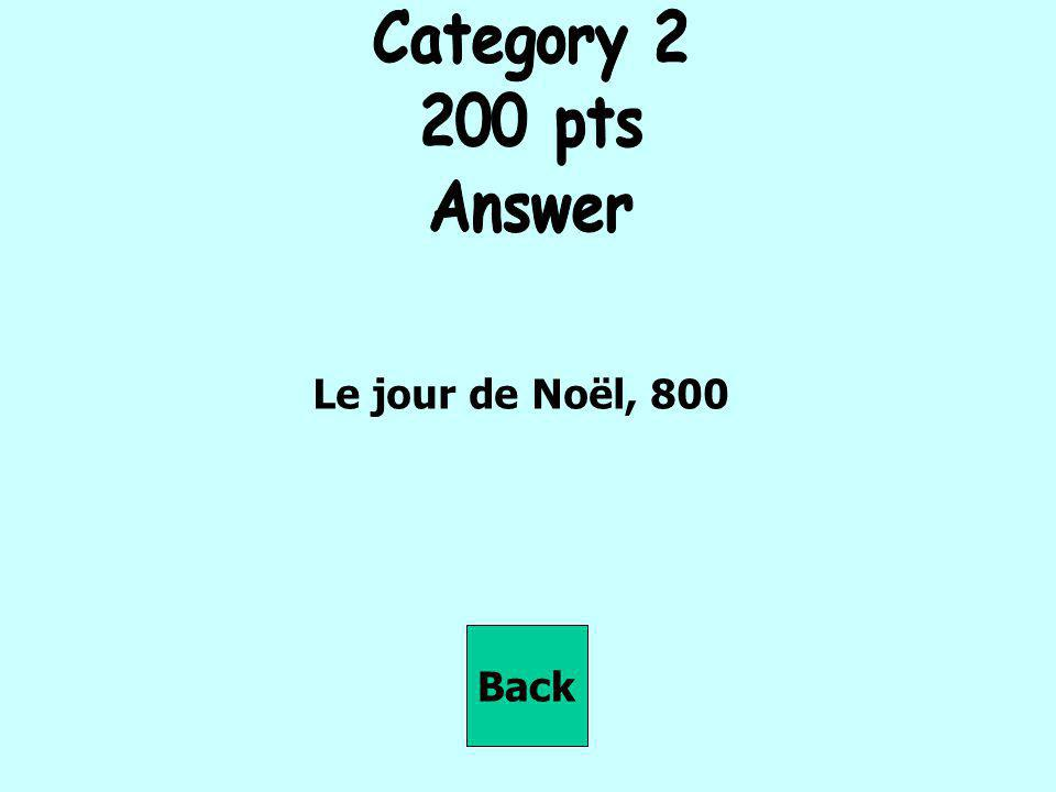 Category 2 200 pts Answer Le jour de Noël, 800 Back