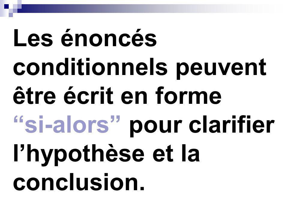 Les énoncés conditionnels peuvent être écrit en forme si-alors pour clarifier l'hypothèse et la conclusion.