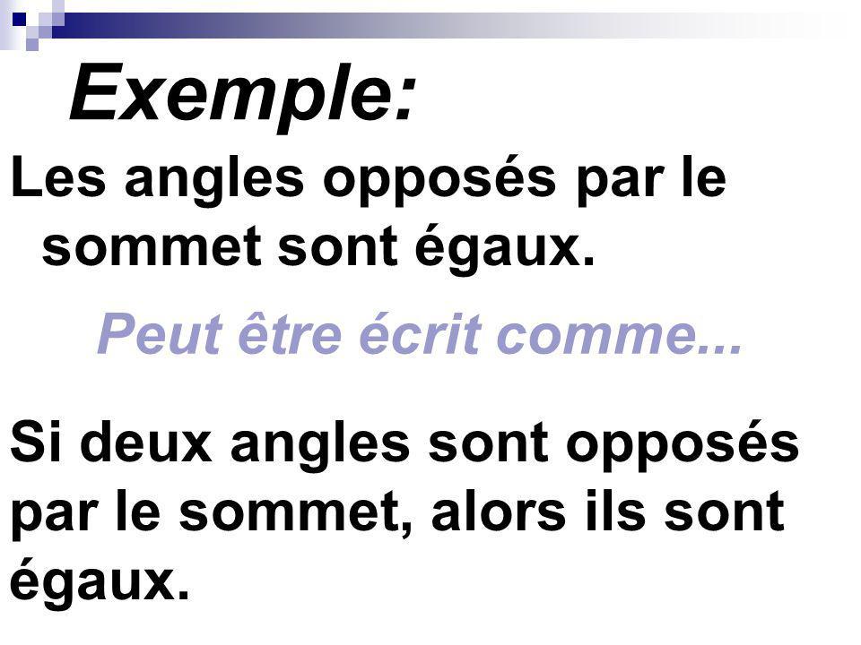 Exemple: Les angles opposés par le sommet sont égaux.
