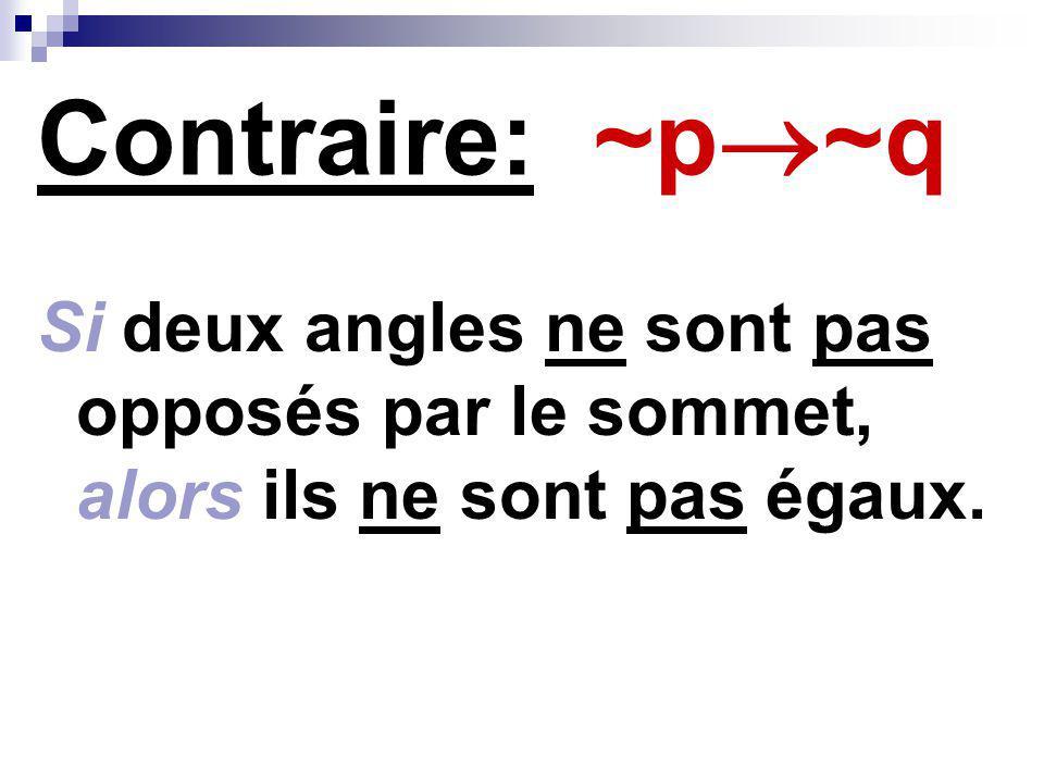 Contraire: ~p~q Si deux angles ne sont pas opposés par le sommet, alors ils ne sont pas égaux.