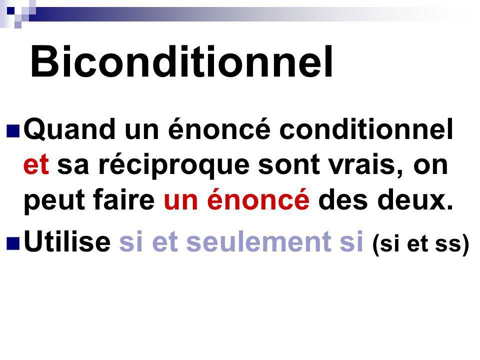 Biconditionnel Quand un énoncé conditionnel et sa réciproque sont vrais, on peut faire un énoncé des deux.