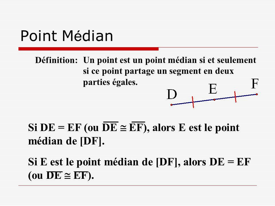 Point Médian Définition: Un point est un point médian si et seulement si ce point partage un segment en deux parties égales.