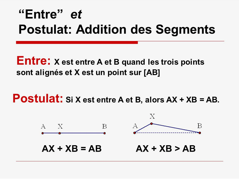 Entre et Postulat: Addition des Segments