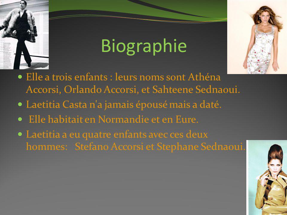 Biographie Elle a trois enfants : leurs noms sont Athéna Accorsi, Orlando Accorsi, et Sahteene Sednaoui.