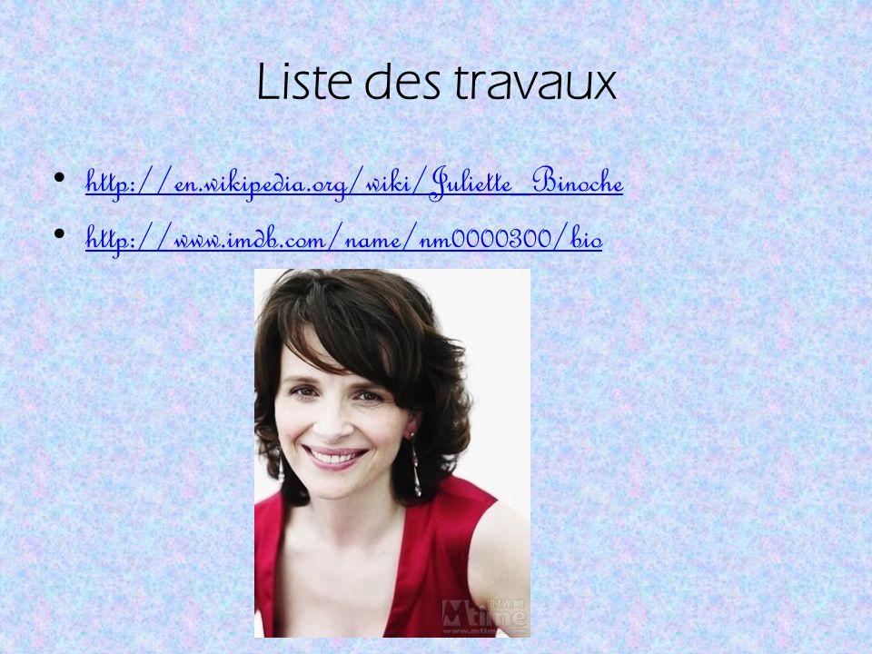 Liste des travaux http://en.wikipedia.org/wiki/Juliette_Binoche