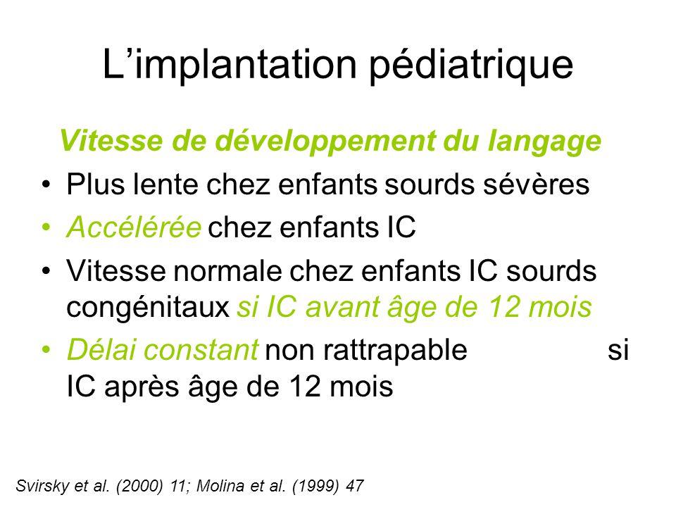 L'implantation pédiatrique