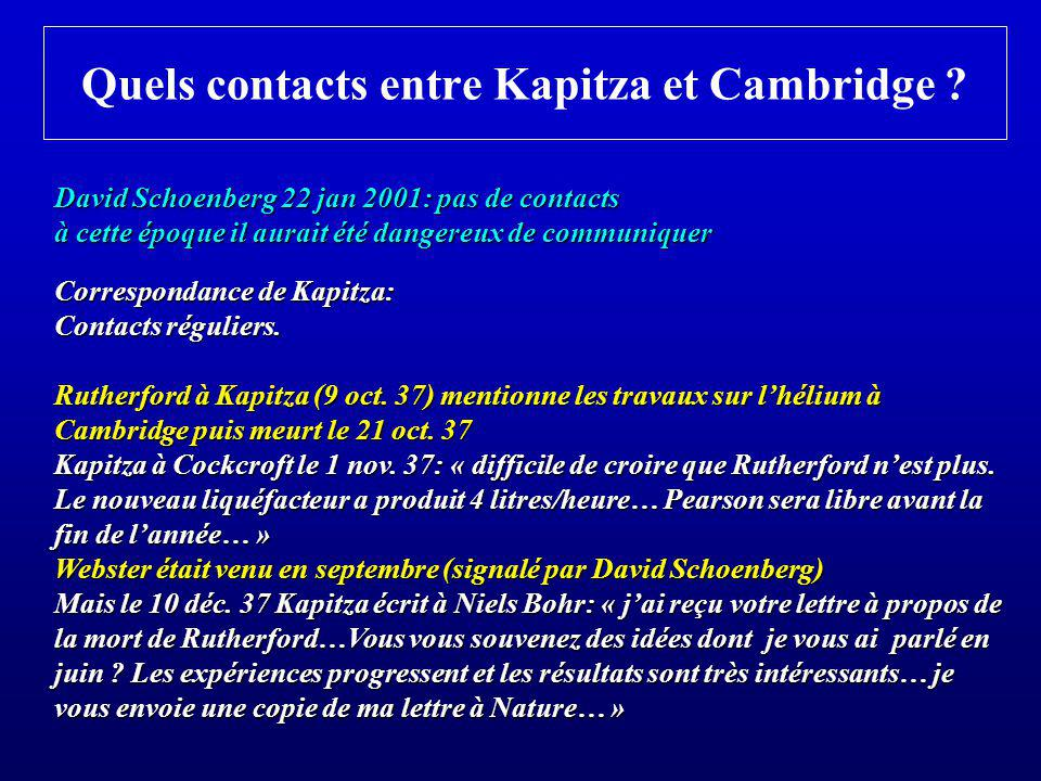 Quels contacts entre Kapitza et Cambridge