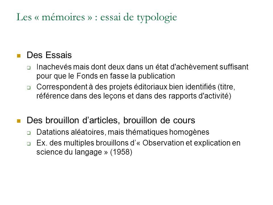 Les « mémoires » : essai de typologie