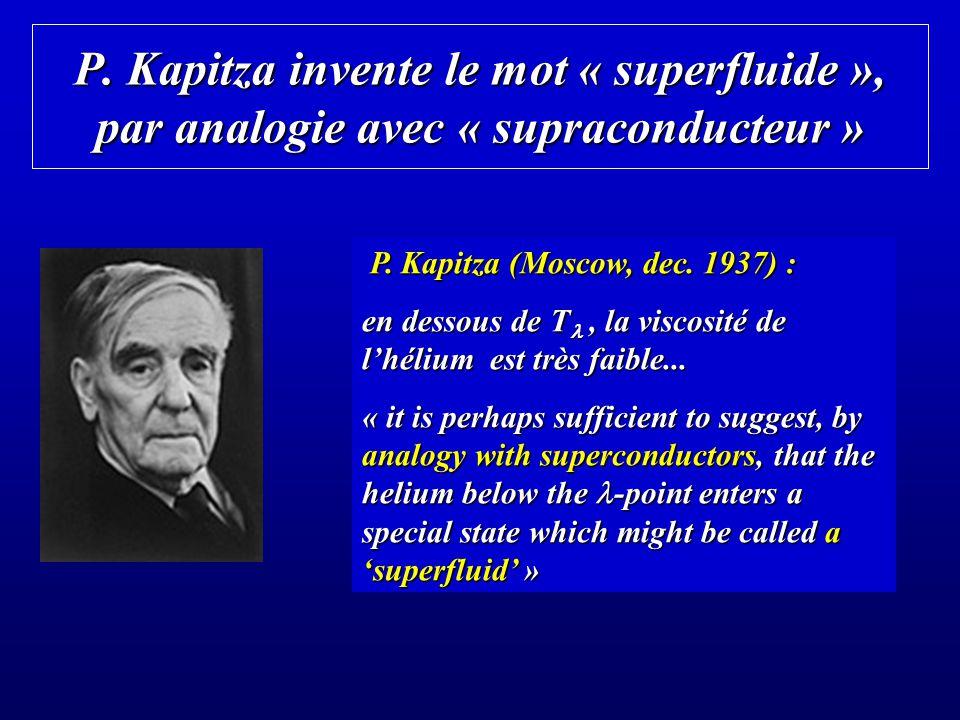 P. Kapitza invente le mot « superfluide », par analogie avec « supraconducteur »