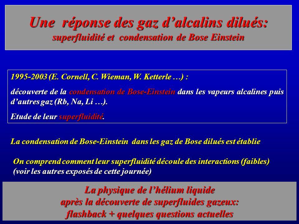 Une réponse des gaz d'alcalins dilués: superfluidité et condensation de Bose Einstein