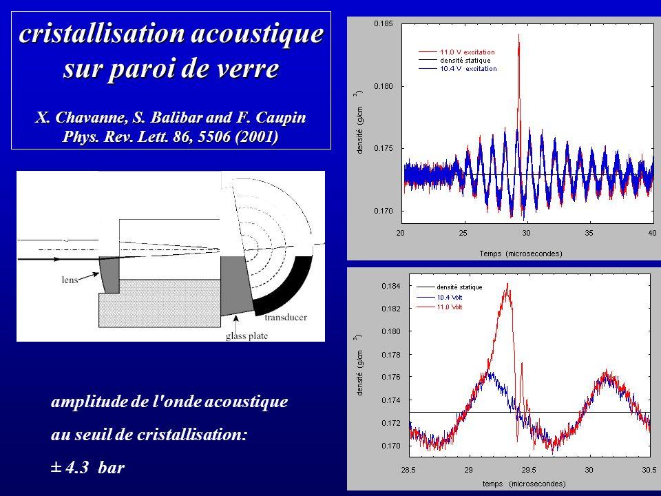 cristallisation acoustique sur paroi de verre X. Chavanne, S