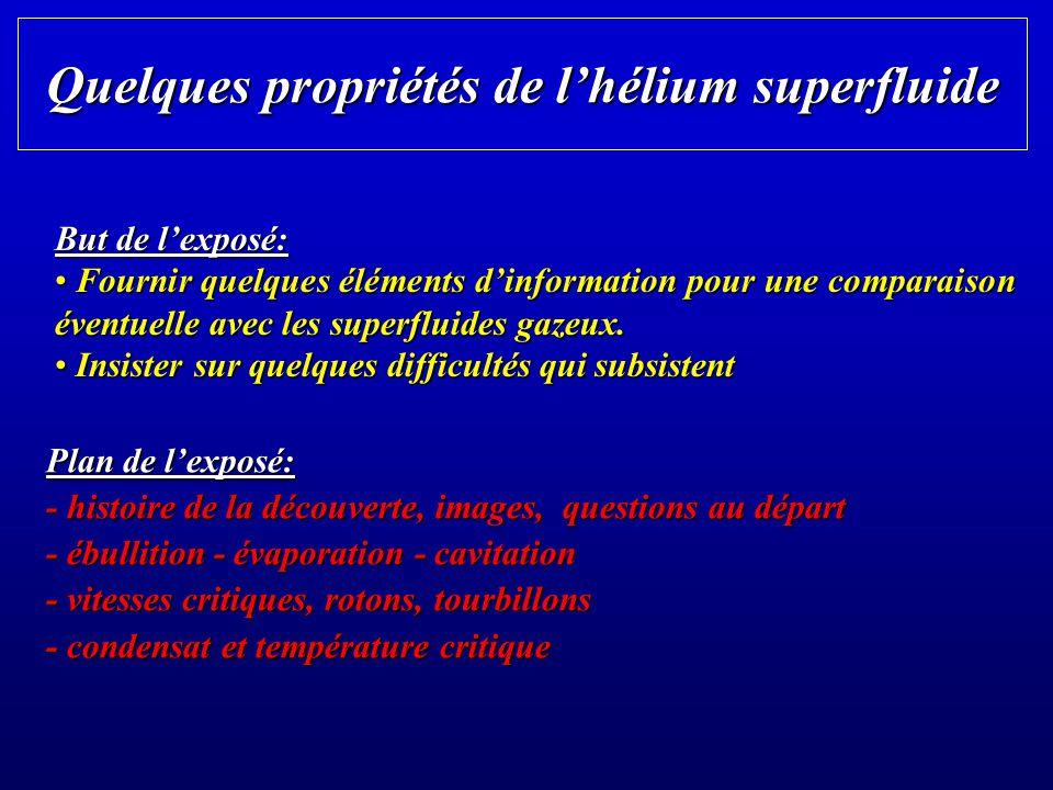 Quelques propriétés de l'hélium superfluide