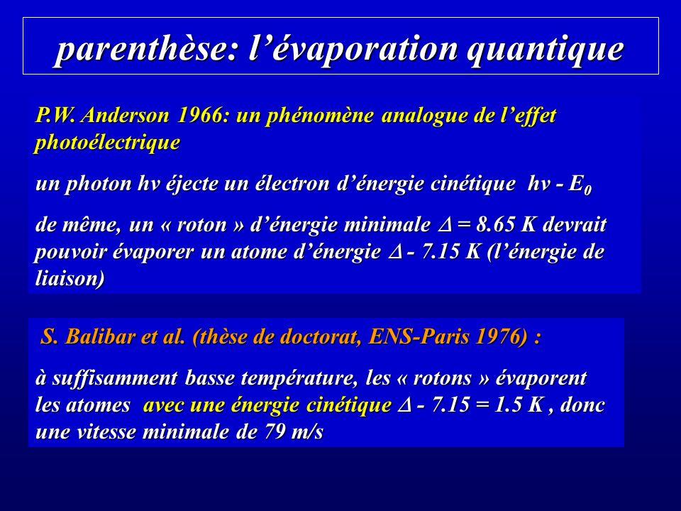 parenthèse: l'évaporation quantique
