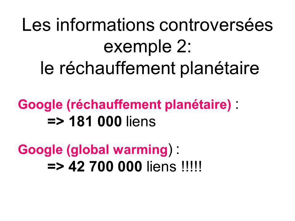 Les informations controversées exemple 2: le réchauffement planétaire