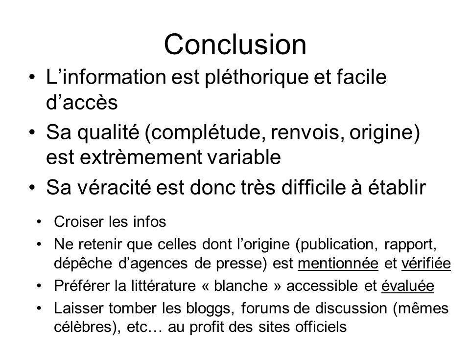 Conclusion L'information est pléthorique et facile d'accès