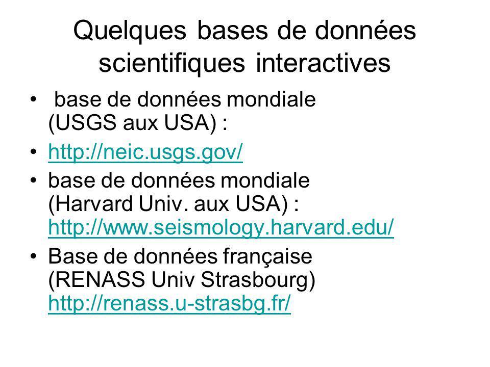Quelques bases de données scientifiques interactives