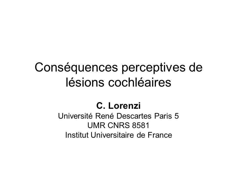 Conséquences perceptives de lésions cochléaires