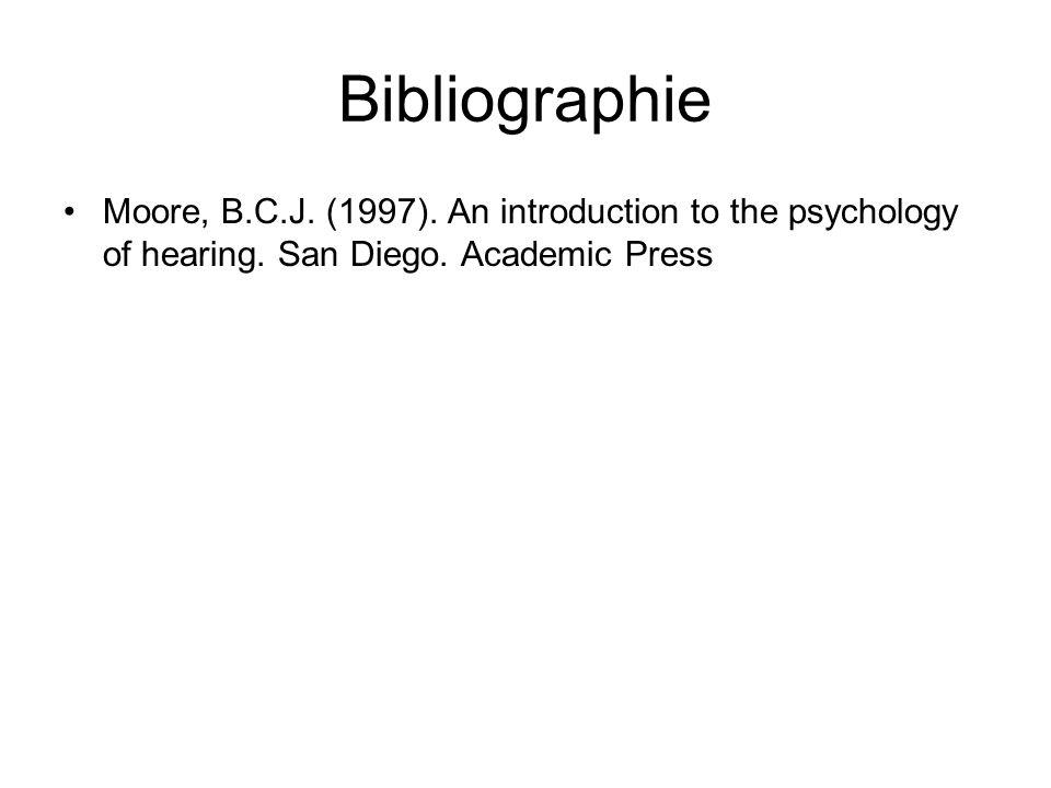 Bibliographie Moore, B.C.J. (1997). An introduction to the psychology of hearing.