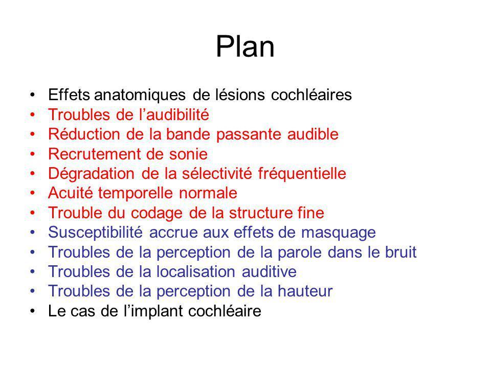 Plan Effets anatomiques de lésions cochléaires
