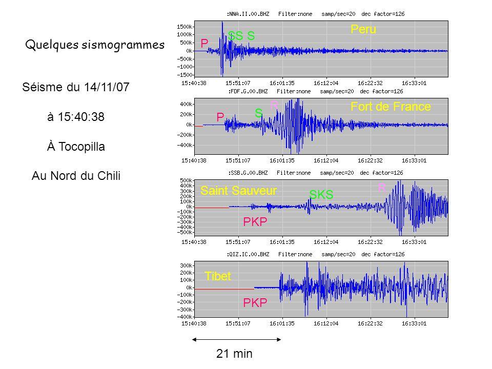 Peru S. S. S. Quelques sismogrammes. P. Séisme du 14/11/07. à 15:40:38. À Tocopilla. Au Nord du Chili.