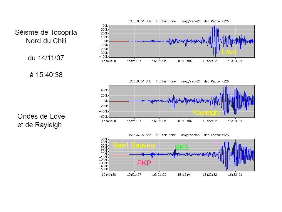 Séisme de Tocopilla Nord du Chili. du 14/11/07. à 15:40:38. Love. Rayleigh. Ondes de Love. et de Rayleigh.