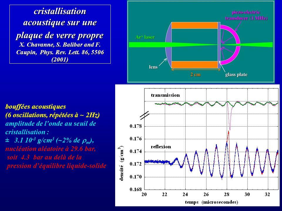 cristallisation acoustique sur une plaque de verre propre X